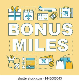 Bonus miles word concepts banner. Earn air miles. Low cost flights. Discount tickets. Presentation, website. Isolated lettering typography idea with linear icons. Vector outline illustration