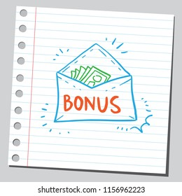 Bonus money in envelope