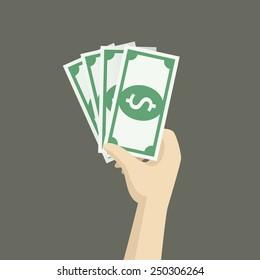 bonus money in hand illustration, vector