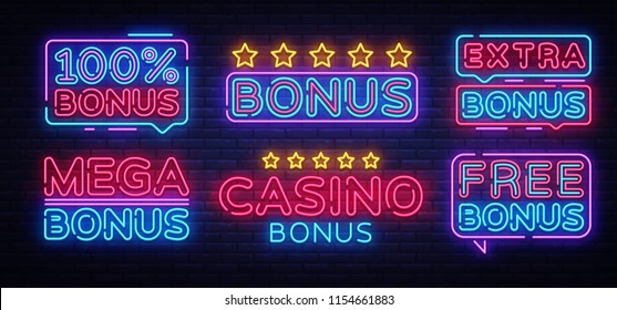 Bonus Neon Text collection Vector. Bonus Casino neon sign, design template, modern trend design, night neon signboard, night bright advertising, light banner, light art. Vector illustration