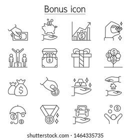 Bonus, Perk, Earning, Profit, Benefit icon set in thin line style