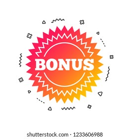 Bonus sign icon. Special offer star symbol. Colorful geometric shapes. Gradient bonus icon design.  Vector