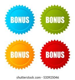 Bonus star vector icon on white background. Bonus sticker. Bonus vector label.