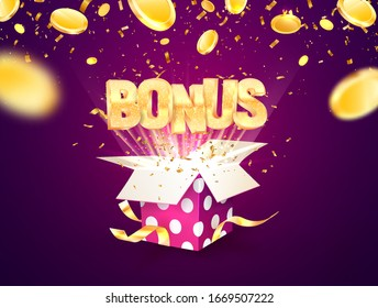 Bonus word flying from textured gift box and purple background. Winning prize vector illustration with falling down coins