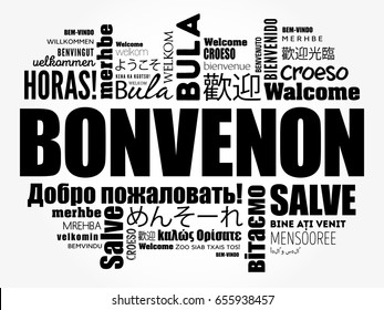 Bonvenon (Welcome in Esperanto) word cloud in different languages, conceptual background