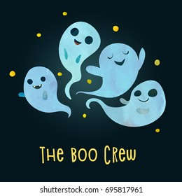 Boo crew. Group of very scary and noisy ghosts are ready to hunt party. Children cartoon style. Poster or postcard design. Watercolour imitation