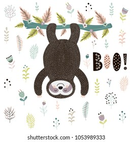 Boo! Cute print with a sloth hanging from the tree. Vector illustration