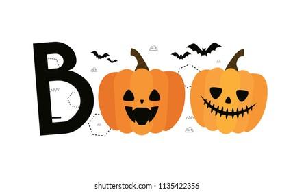 boo. Halloween. Autumn, Fall. Cute vector card with pumpkins, bats and geometric details. Jack o lanterns