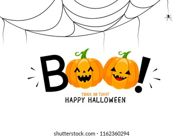 Boo! lettering design with smiling pumpkin character. Trick or Treat, Happy Halloween day. Vector design for greeting card, print, invitation, banner, poster.  Illustration on white background.