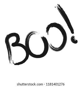 Boo lettering design template, brush grunge, Halloween caligraphic word, vector illustration