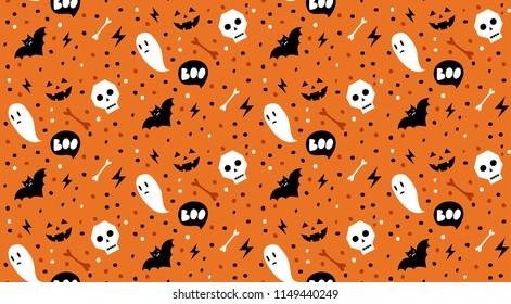 Boo! Seamless vector halloween pattern with skulls, bats, bones and ghosts.