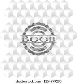 Boob realistic grey emblem with geometric cube white background