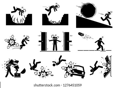 Booby trap pictograms. Stick figure icons depict ancient and modern booby trap setup that kill human.