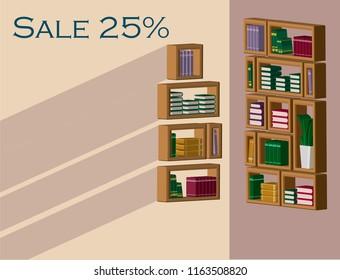 Boock shelves shop walls sale 25