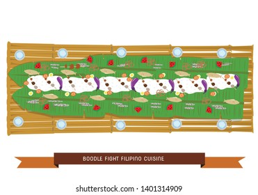 Boodle Fight traditional Filipino cuisine preparation taken from the military style of eating which symbolizes camaraderie and unity. Editable Clip Art.