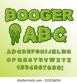 Booger ABC. Green slime letters. Snot font. Snivel alphabet. Slippery lettering. Mucus typography.