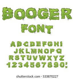 Booger font. Slippery lettering. Snivel alphabet. Green slime letters. Snot ABC. Mucus typography.