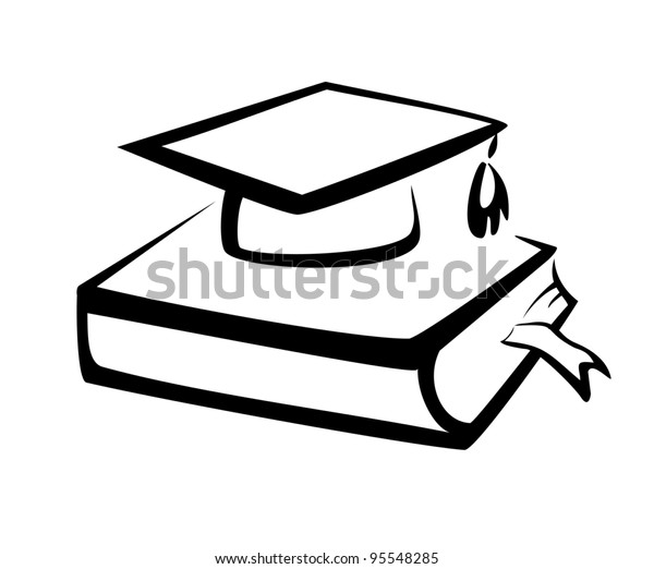Book and bachelor hat, education symbol, knowledge concept