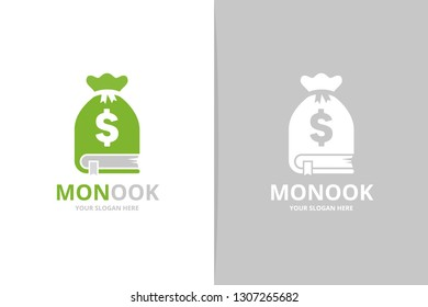 Book and bag logo combination. Unique bookstore, library and money logotype design template.