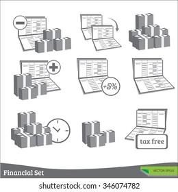 Book bank and financial transactions symbols set.