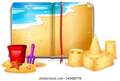Book with beach scene  illustration