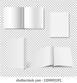 Book Big Collection Set Isolated Transparent Background With Gradient Mesh, Vector Illustration