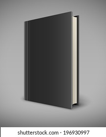 Book with black blank cover. Eps10 vector illustration