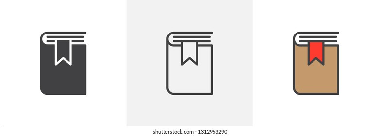 Book with bookmark icon. Line, glyph and filled outline colorful version, bookmarked book outline and filled vector sign. Symbol, logo illustration. Different style icons set. Pixel perfect vector
