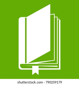 Book with bookmark icon white isolated on green background. Vector illustration