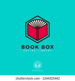 Book Box logo. Online book store. Digital library. Open book on a hexagon isolated, on a azure background.