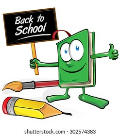 book cartoon with signboard back to school