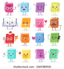 Book character vector cartoon emotion textbook with childish face expression on notebook cover illustration educational set of reading kawaii studing at school isolated on white background