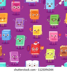 Book character vector cartoon emotion textbook with childish face expression on notebook cover illustration educational set of reading kawaii studing at school seamless pattern background