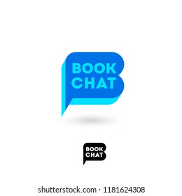 Book chat logo. B letter. Digital library chat. The literary community. Letter B looks like a comic book bubble. Monochrome option.