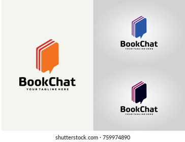 Book Chat Logo Template Design. Creative Vector Emblem for Icon or Design Concept