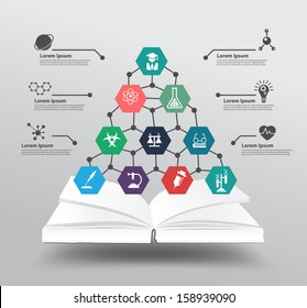 Book with chemistry and science icon education concept, Vector illustration modern design template, workflow layout, diagram, step up options