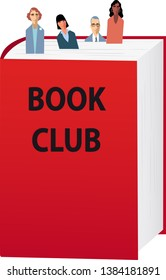 Book club members as bookmarks sticking out of a book, EPS 8 vector illustration