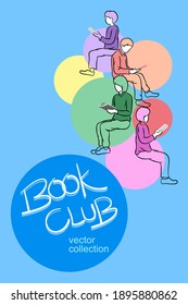 Book club reading lover poster design, books and reader leisure