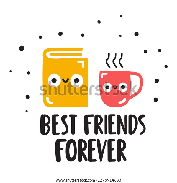 Book Coffee Cup Best Friends Forever Stock Vector (Royalty