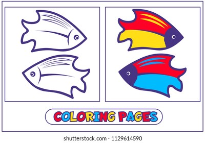 Book coloring with two bright fish .. For destkogo creativity. Black-and-white drawing from lines for coloring with paints and pencils. For drawing with the left hand. On a white background. Vector