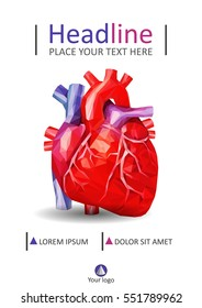 Book cover A4 design. Annual report. Academic journal or conference. Flyer for magazine. Medical low poly human heart vector illustration.