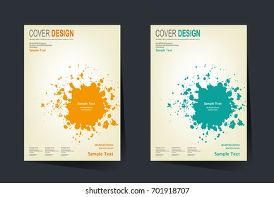 book cover design vector template in a4 size annual report