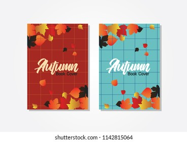 book cover autumn theme with calligraphy, background template with autumn leaves. vector illustration eps 10.