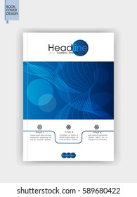 Book cover design in A4. Blue brochure template. Banner, flyer, journal, conference. Vector.