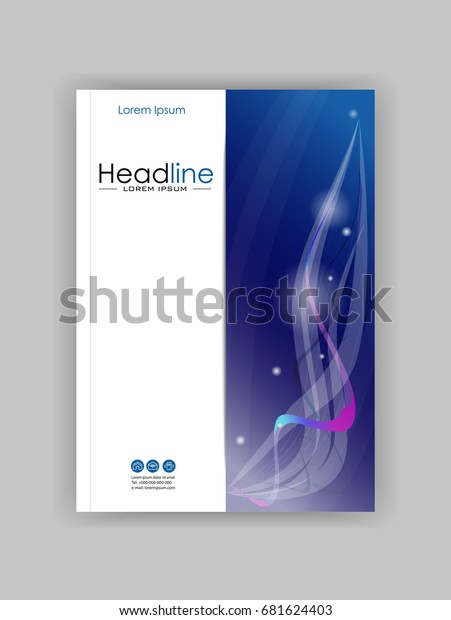 Book cover design A4 with blue abstract lines, strings and circles. Good for publications journals, portfolio, monographs and magazines. Vector.