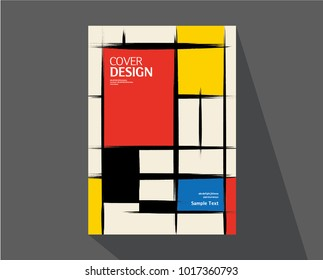 Book cover design. Annual report layout. rough brush Strokes. Mondrian style. Vector.