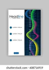 Book cover design with colourful waves and numbers. A4 template with glowing diagram. Good for annual report, conference, journal, book, banner, flyer, business report. Vector.