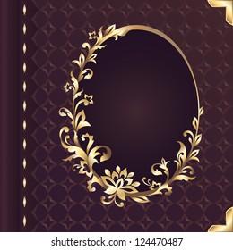 book cover design with decorative golden floral ornate frame