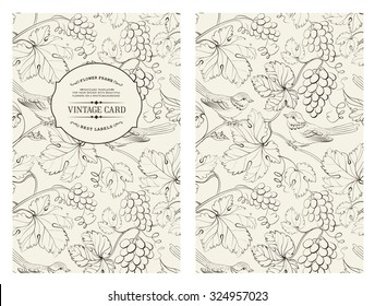 Book cover design. Grape wine card. Vintage pattern of black lines over gray design. Vector illustration.