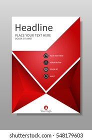 Book Cover design in red. A4 design. Annual report with geometrical figures.  Good for academic publications journals, portfolio, monographs and magazines. Vector Illustration.